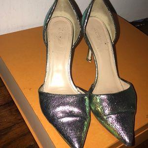Jcrew iridescent kitten heel shoe.